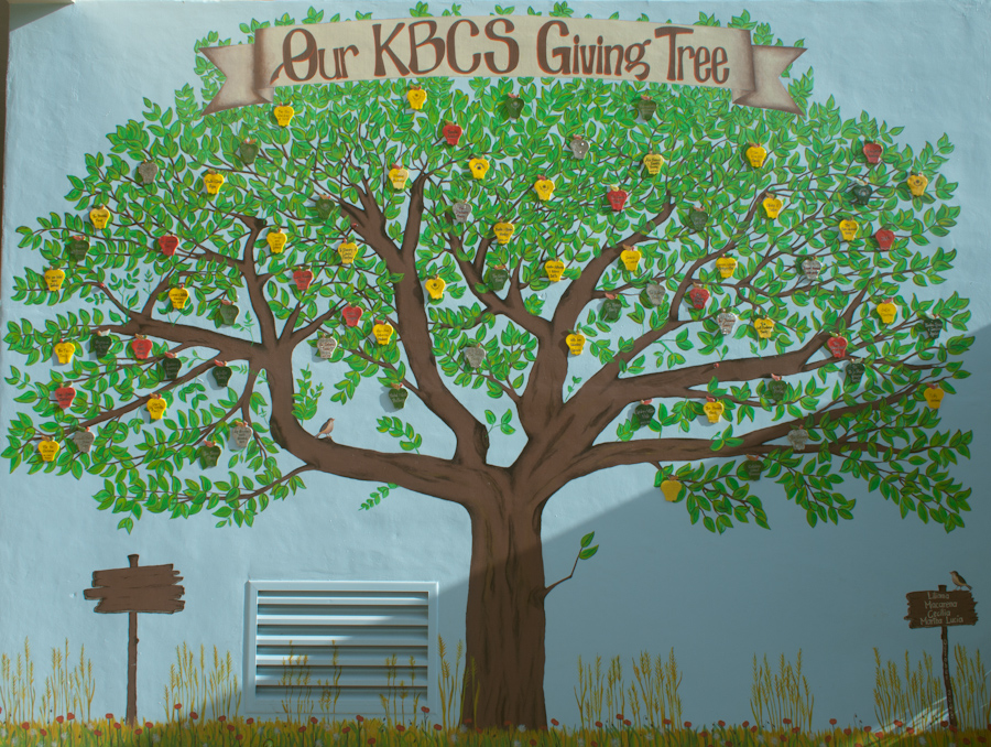 A mural at Key Biscayne Elementary School; 'Our KBCS Giving Tree'