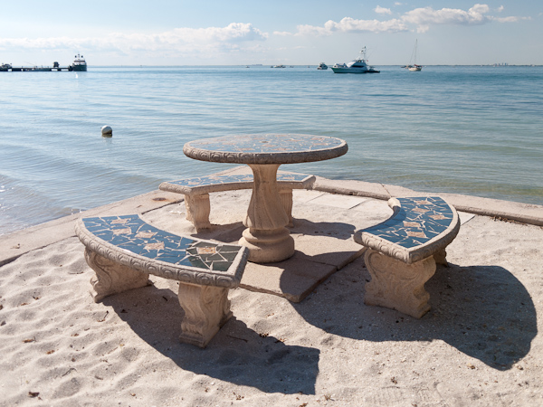 I love these mosaic tables