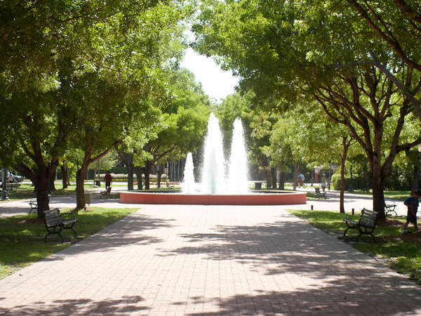 A photo of the Village Green fountain in Key Biscayne on a sunny day.